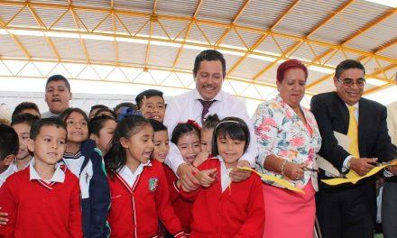 Entregan techado Primaria Ricardo Flores Magón