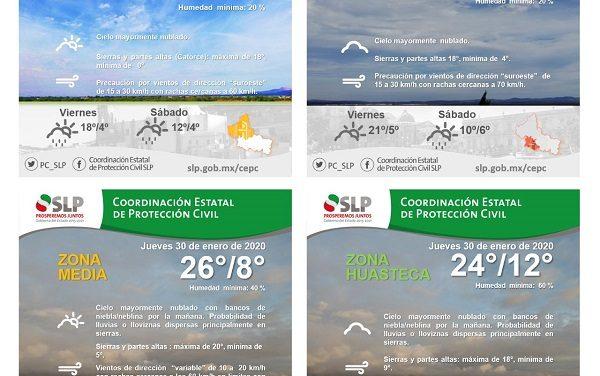 RACHAS DE VIENTO DE HASTA 70 KM/H PARA SLP